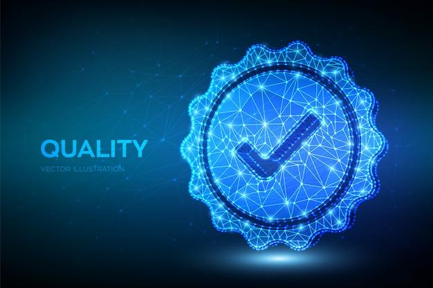 Qualität. symbolprüfung für niedrige polygonale qualität. standard qualitätskontrolle zertifizierung versicherung. Premium Vektoren