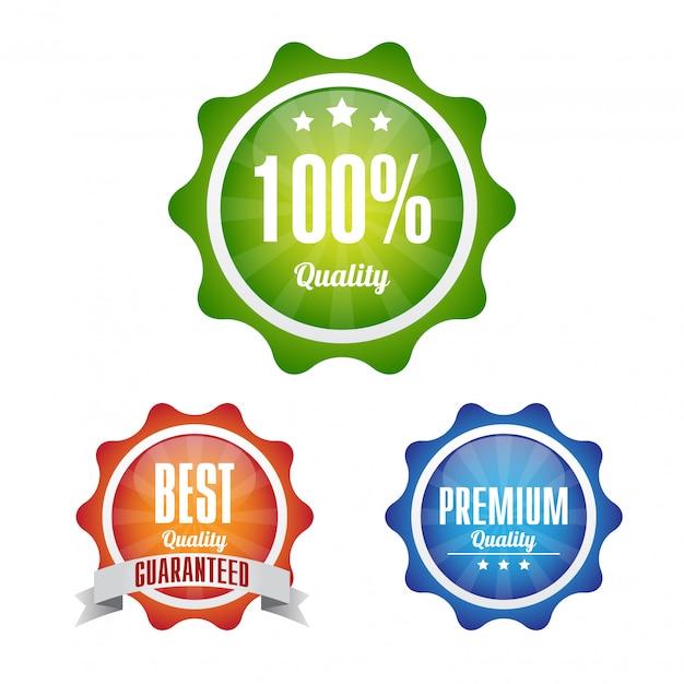 Qualitätsetiketten illustrationsdesign Premium Vektoren