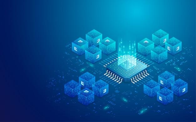Quantum computing-konzept Premium Vektoren