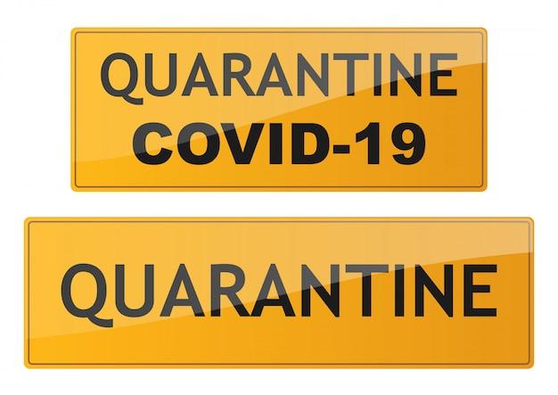 Quarantäneschilder gesetzt. coronavirus-gefahrenzeichen. verkehrsschild covid-19 isoliert. illustration. Premium Vektoren