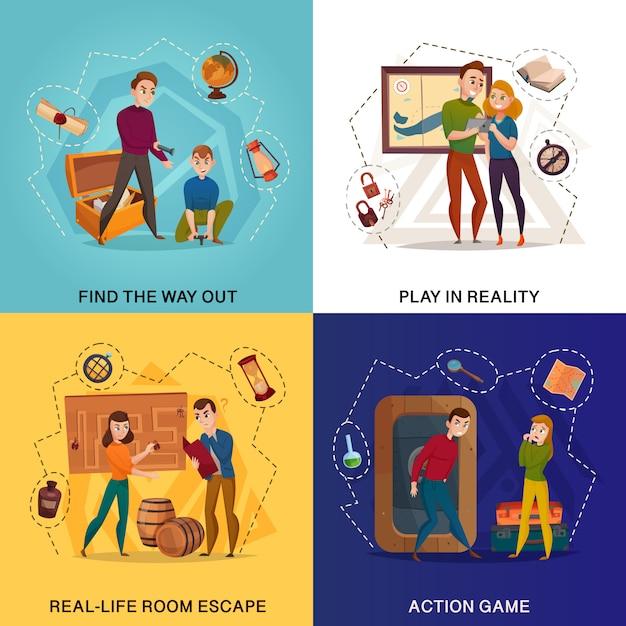 Quest game reality cartoon-konzept Kostenlosen Vektoren