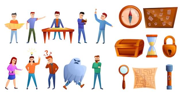 Quest-spiel-icon-set, cartoon-stil Premium Vektoren