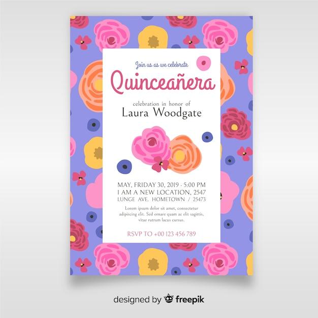 Quinceañera-einladung Kostenlosen Vektoren
