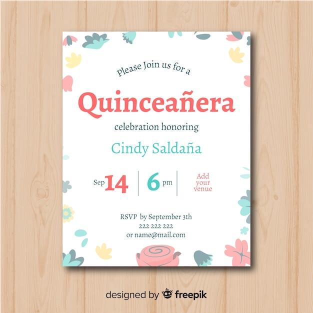 Quinceanera hand gezeichnete blumen einladungsschablone Kostenlosen Vektoren