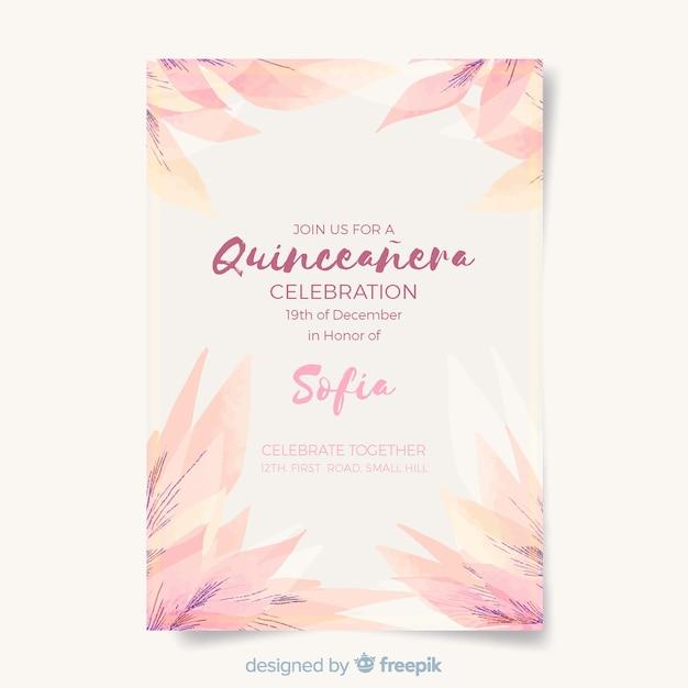 Quinceañera party einladung mit blättern Kostenlosen Vektoren