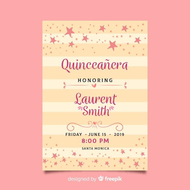 Quinceañera party einladung mit rosa sternen Kostenlosen Vektoren