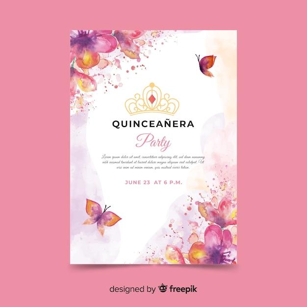 Quinceañera party einladung mit schmetterlingen Kostenlosen Vektoren