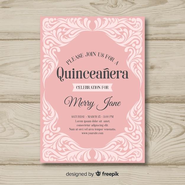 Quinceanera verzierte einladungsschablone Kostenlosen Vektoren