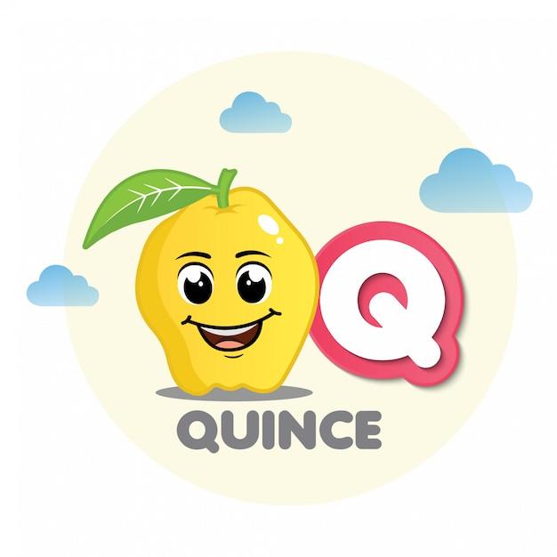 Quittenmaskottchen mit buchstaben q Premium Vektoren