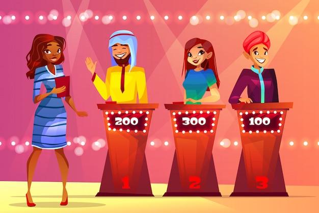 Quiz trivia-illustration von menschen im game show studio. Kostenlosen Vektoren
