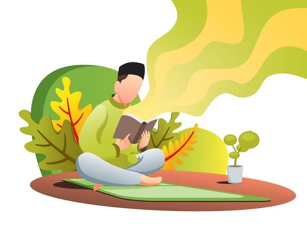 Quran reading web flat illustration Premium Vektoren