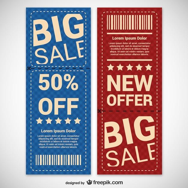Rabatt-coupons eingestellt Kostenlosen Vektoren
