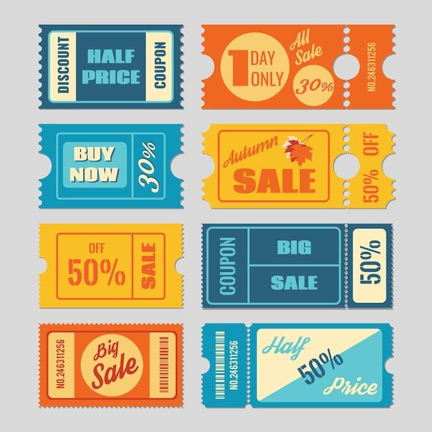 Rabatt-gutschein, verkauf tickets vektor-set. etikett und etikett, preis einzelhandel, illustration des werbegeschäfts Kostenlosen Vektoren