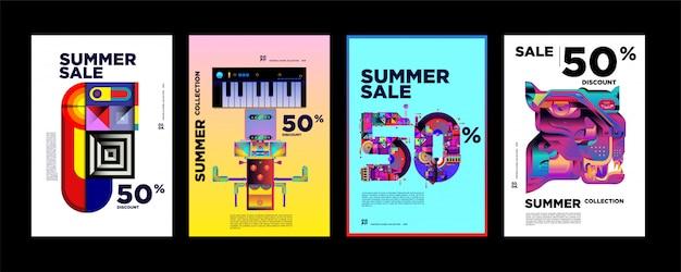 Rabatt-plakat-designschablone des sommerschlussverkaufs 50% Premium Vektoren