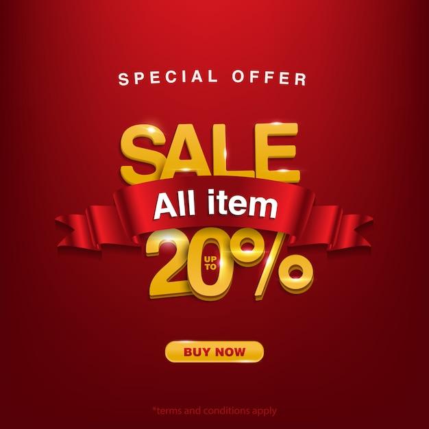 Rabatt sonderangebot verkauf aller artikel bis zu 20% Premium Vektoren