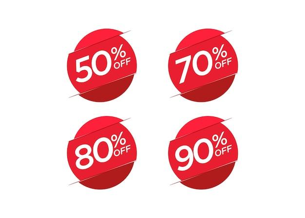 Rabattangebotspreis-aufklebersatz Premium Vektoren