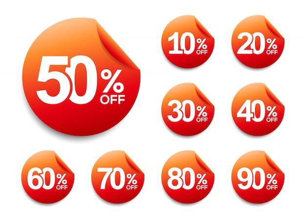 Rabattaufkleber, werbekampagne im einzelhandel, verkaufsförderungsmarketing Premium Vektoren