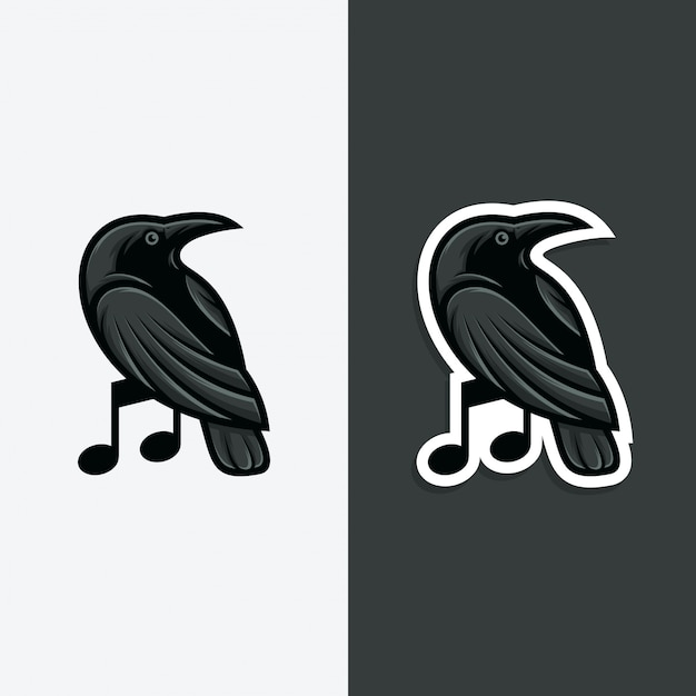 Rabenmusik logo konzept abbildung. Premium Vektoren