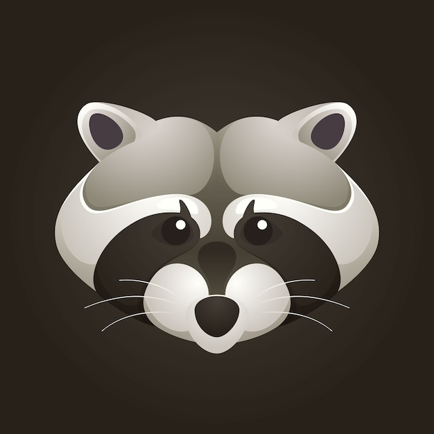 Raccoon head design template elemente für corporate identity. Premium Vektoren