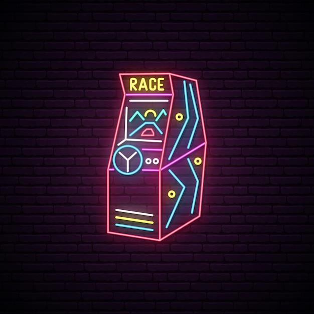 Race arcade spielmaschine leuchtreklame. Premium Vektoren