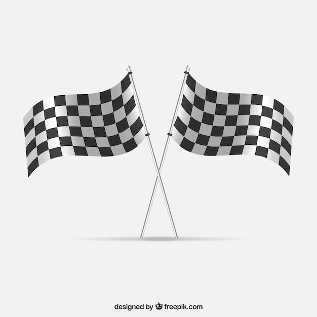 Race karierten fahnen mit realistischem design Kostenlosen Vektoren