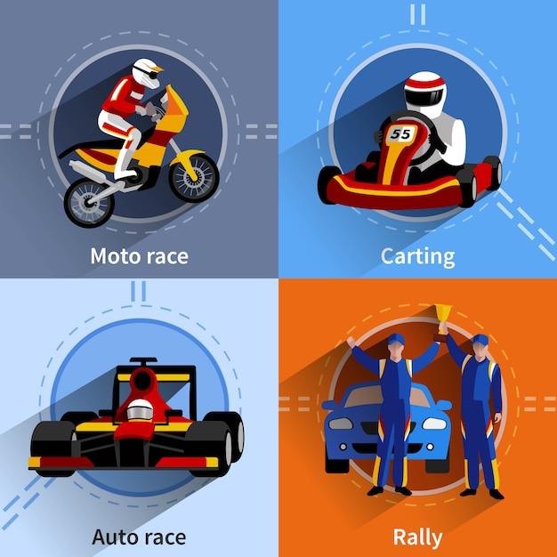 Racer icons set mit karting rallye moto und autorennen symbole Kostenlosen Vektoren