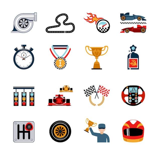 Racing icons set Kostenlosen Vektoren