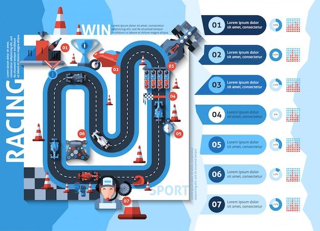 Racing infografiken set Kostenlosen Vektoren