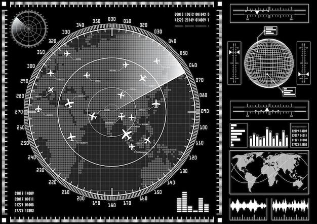 Radarbildschirm mit futuristischer benutzeroberfläche hud. Premium Vektoren