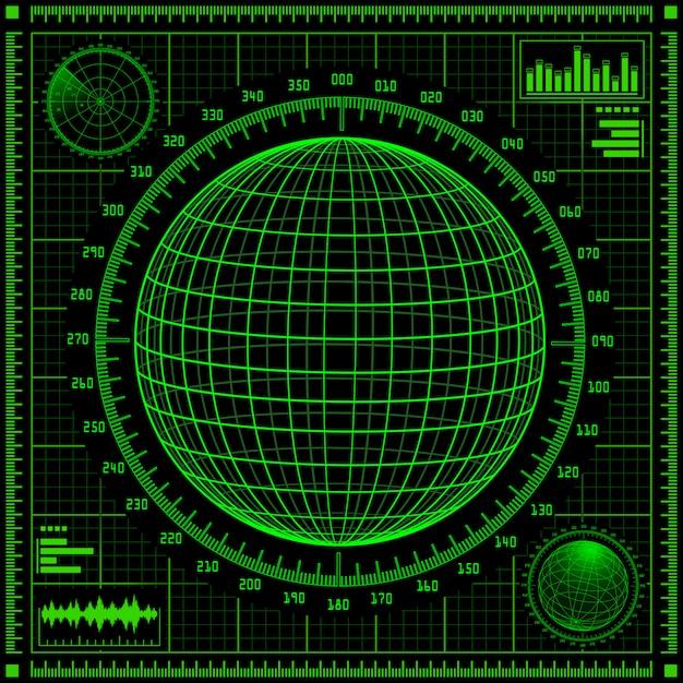 Radarschirm mit futuristischer benutzeroberfläche hud. Premium Vektoren