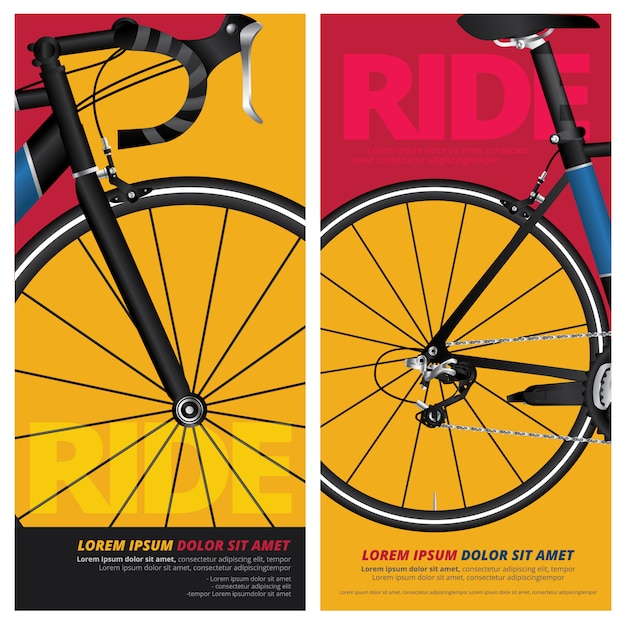 Radfahren fahrrad poster vektor-illustration Premium Vektoren