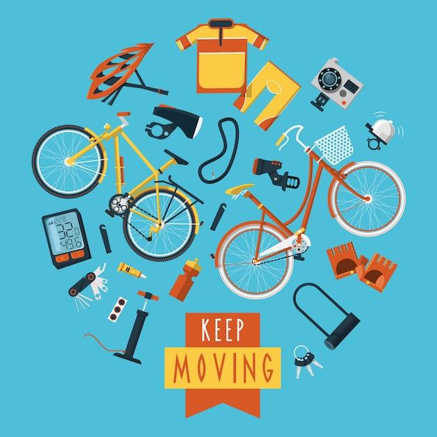 Radfahren konzept piktogramme zusammensetzung kreis drucken Kostenlosen Vektoren