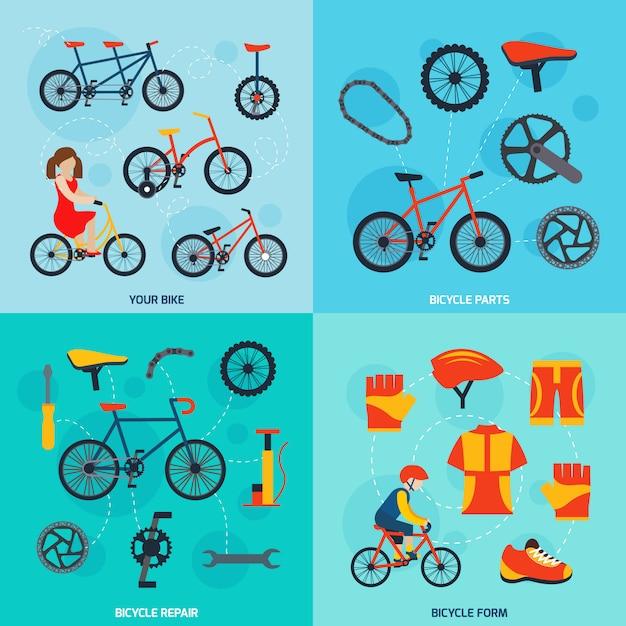 Radfahren quadratische banner gesetzt Kostenlosen Vektoren