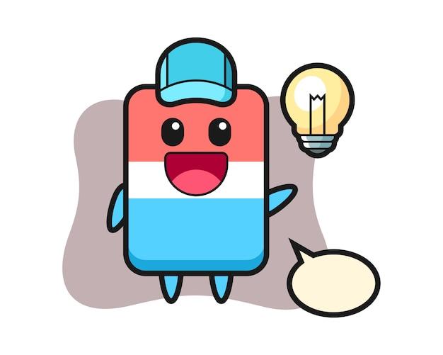 Radiergummi charakter cartoon bekommen die idee, niedlichen stil, aufkleber, logo-element Premium Vektoren