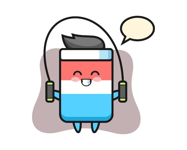 Radiergummi charakter cartoon mit springseil, niedlichen stil, aufkleber, logo-element Premium Vektoren