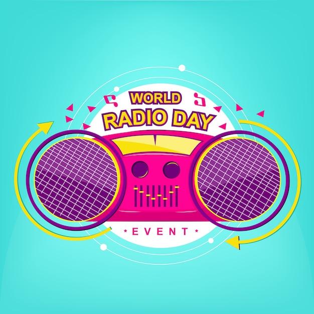 Radio logo event mit moderner pop-farbe Premium Vektoren