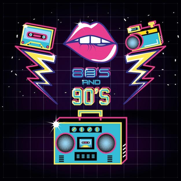 Radio mit ikonen der achtziger und neunziger jahre retro Premium Vektoren