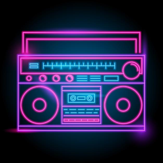 Radio-neon-logo Premium Vektoren