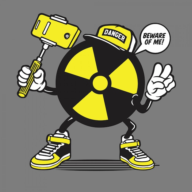 Radioaktives logo symbol selfie character Premium Vektoren