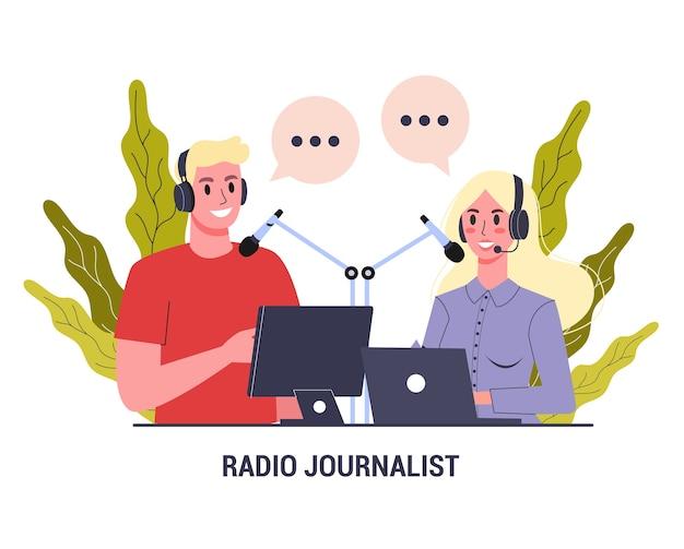 Radiojournalistenkonzept. mann und frau sitzen in kopfhörern. Premium Vektoren