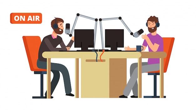 Radiosendung. rundfunk-dj im gespräch mit mikrofonen auf sendung. Premium Vektoren