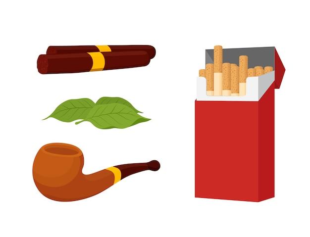 Räucherset, zigaretten, zigarre, tabak Premium Vektoren