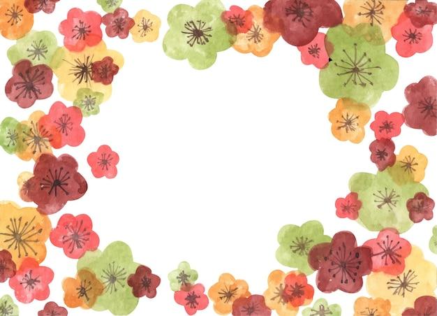 Rahmen aus sakura-blüten. aquarellillustration. Premium Vektoren