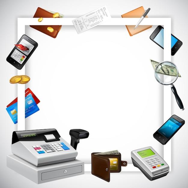 Rahmen des weißen quadrats mit realistischer zahlungselementgeldkarte-finanzausrüstung auf heller illustration Kostenlosen Vektoren