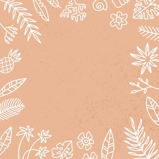 Rahmen mit exotischen palmblättern und blüten. hand gezeichnetes rezept oder menü, social media hintergrund. weiße lineare illustration im gekritzelstil auf strukturiertem sandhintergrund Premium Vektoren