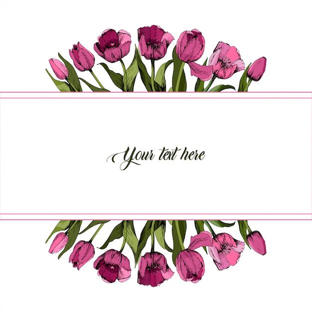 Rahmen mit farbigen rosa tulpen Premium Vektoren