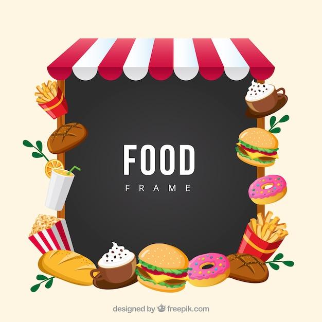 Rahmen mit fast food Kostenlosen Vektoren