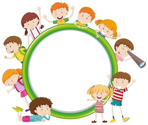Rahmen mit glücklichen kind Kostenlosen Vektoren