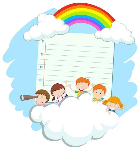 Rahmen mit glücklichen kindern im himmel Premium Vektoren