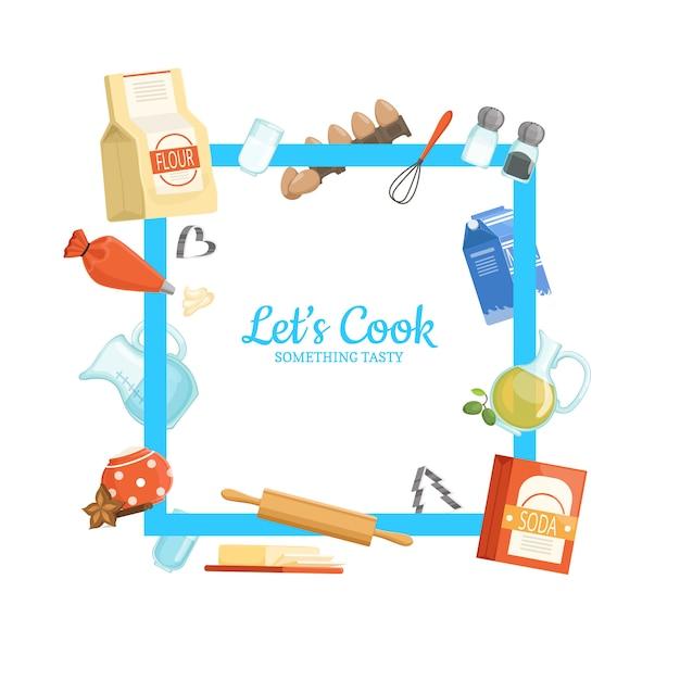 Rahmen mit platz für text und kochen zutaten oder lebensmittel herum Premium Vektoren